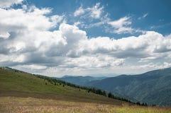 Alpint beta och berg i avståndet Arkivfoton