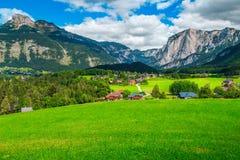 Alpint bylandskap för underbar sommar med gröna fält och berg arkivfoton