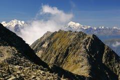 Alpint fjällängberglandskap på Jungfraujoch, överkant av Europa strömbrytare Royaltyfria Bilder