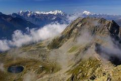 Alpint fjällängberglandskap på Jungfraujoch, överkant av Europa strömbrytare Arkivfoton