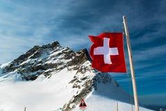 Alpint fjällängberglandskap på Jungfraujoch Royaltyfri Fotografi