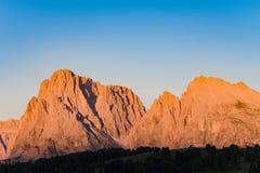 Alpint glöd, Dolomites, Langkofel grupp, Italien Arkivfoton