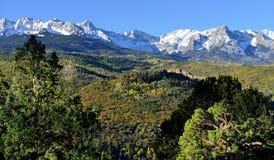 Alpint landskap av Colorado under lövverk Fotografering för Bildbyråer
