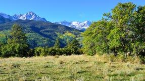 Alpint landskap av Colorado under lövverk Arkivfoto
