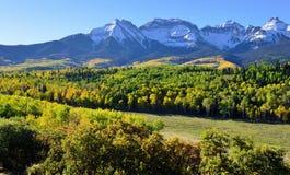 Alpint landskap av Colorado under lövverk Royaltyfria Bilder