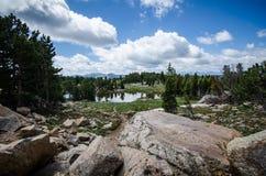 Alpint landskap med sjön, träd, och vaggar längs den Beartooth huvudvägen i Montana nära den Yellowstone nationalparken arkivfoto