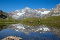 Alpint landskap på Zermatt den fotvandra slingan nära Schwarzsee, Schweiz arkivbild