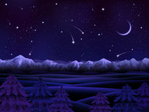 alpint nattlandskap royaltyfri illustrationer