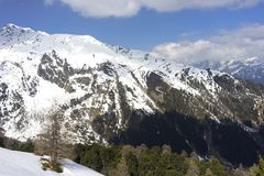 Alpint skidar semesterorten Serfaus Fiss Ladis i Österrike Fotografering för Bildbyråer