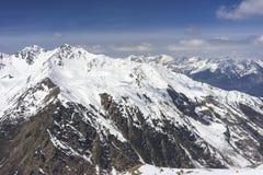 Alpint skidar semesterorten Serfaus Fiss Ladis i Österrike Arkivfoto