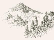 Alpint skissa, bergskedjor royaltyfri illustrationer