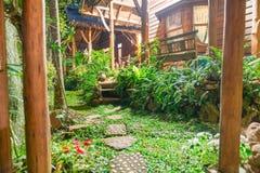 Alpondras com profundo luxúria - jardim e stru tropicais verdes Fotografia de Stock Royalty Free