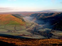 Alport Dale, Derbyshire. Alport Dale, Derbyshire, UK. November 06, 2017.  Morning mist over Woodlands valley taken from Crookstone knoll on Kinder Scout Stock Photo