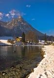 Alps зимы на заходе солнца Стоковые Изображения