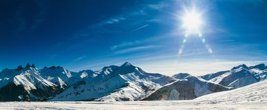 Alps. Panoramic view of the Sybelles, French Alps. Copy space Royalty Free Stock Photography