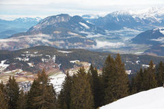Alps. The Alps in Austria with parts of Niederau visible below Stock Photo