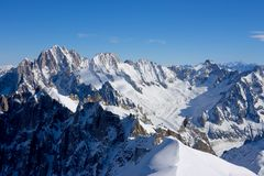 The Alps. View from Aiguille du Midi peak Stock Photography