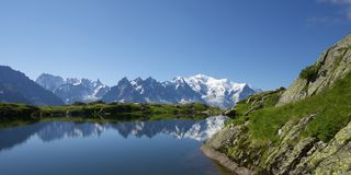Alps. Mont Blanc reflected in Cheserys Lake, Mont Blanc Massif, Alps, France stock photo