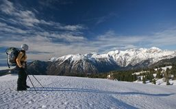 Alps. Woman mountainering in slovenian alps Stock Photos