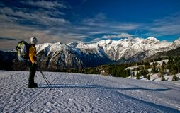 Alps. Woman mountainering in slovenian alps Royalty Free Stock Image