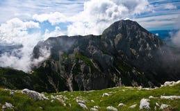Alps. In slovenia with mountain hut Stock Photos