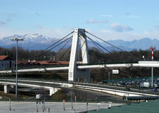 The Alps. View of bridge and the Alps from Malpensa Airport Milan Italy stock images
