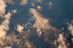 Alps from Above. Alpine mountains seen directly from above from about 10000m Royalty Free Stock Image