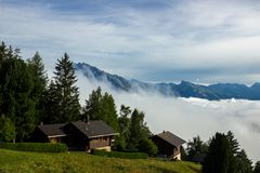 Alps above the clouds. Near Sion in Valais Canton in Switzerland royalty free stock images