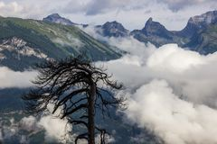 Alps above the clouds. Near Sion in Valais Canton in Switzerland stock photo
