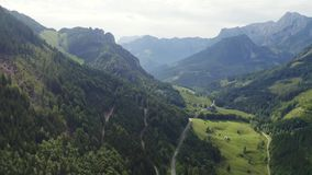 Alps aerial landscape. Mountain and forest landscape in Alps, four aerial views set stock video footage