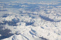 Alps Aerial View. From airplane Royalty Free Stock Images