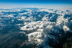 Alps aerial view from airplane Royalty Free Stock Photos