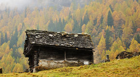 Alps autumn landscape and hut. Typical mountain hut in autumn landscape in Italy Alps Stock Photo