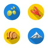 Alps, a barrel of beer, lobster, hops. Oktoberfestset collection icons in flat style vector symbol stock illustration Stock Photography