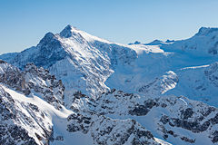 The Alps. Beautiful view over mountains in the Swiss Alps. Titlis, Switzerland royalty free stock photos