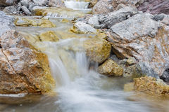 Alps beck under the Hochkonig peak in the calcite rock Stock Images