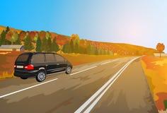 Alps car travel. vector illustration