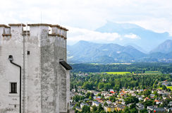 Alps from castle. Early Alps and fragment of Hohensalzburg fortress in Salzburg, Austria Stock Images