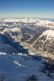 The Alps, Chamonix valley. View from Aiguille du Midi peak Stock Photo
