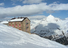 Alps cottage in winter Royalty Free Stock Photo