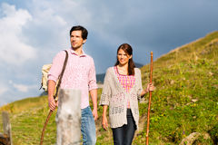 Alps - Couple hiking in Bavarian mountains Royalty Free Stock Image