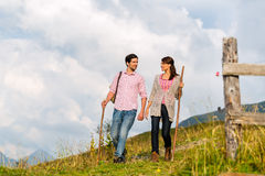 Alps - Couple hiking in Bavarian mountains Royalty Free Stock Photos