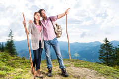 Alps - Couple hiking in the Bavarian mountains Stock Photo
