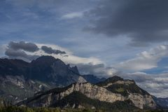 Alpine panorama in Switzerland. The Alps in the day, somewhere near Saint Gallen, Switzerland stock photography