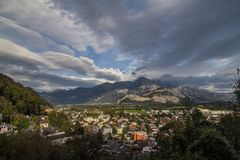 Alpine panorama in Switzerland. The Alps in the day, somewhere near Saint Gallen, Switzerland. The grape field in the mountains Stock Photos