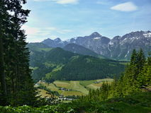 Alps-down St.Martin. Austria, Alps-view of the St.Martin in valley, in the background the peaks of the Alps Royalty Free Stock Photo