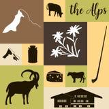 The Alps flat icons. Mountain Matterhorn, Alpine ibex, chalet, edelweiss flowers, alpenhorn, milk, squared. The Alps flat icons. hand drawn vector illustration stock illustration