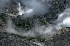 Alps in fog. In slovenian high land Stock Photography