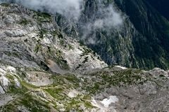 Alps in fog. In slovenian high land Royalty Free Stock Photography