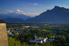 Alps, Fortress and Salzburg Austria. View looking south from the Hohensalzburg Fortress in Salzburg, Austria. Space for copy text royalty free stock photography